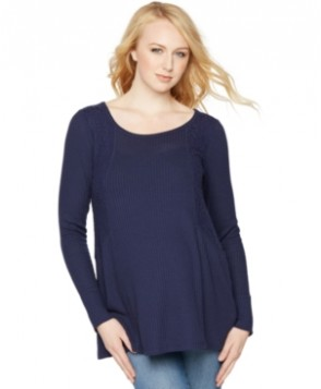 A Pea in the Pod Maternity Lace-Panel TopScoop Neck A-line