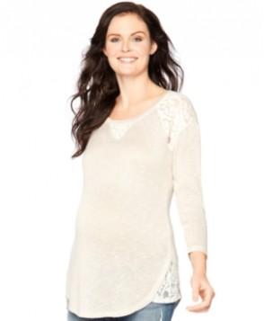 Motherhood Maternity Lace-Trim Sweatshirt