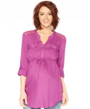 Motherhood Maternity Lace-Panel Tunic