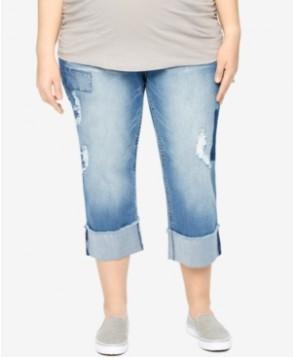 Motherhood Maternity Plus Size Laura Medium Wash Cropped Jeans