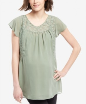 Motherhood Maternity Lace-Yoke Short-Sleeve Blouse