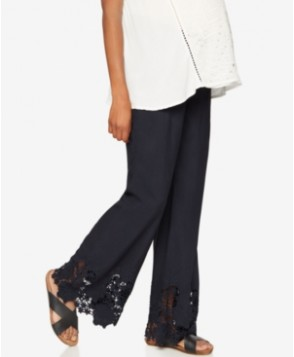 A Pea In The Pod Maternity Lace-Hem Wide-Leg Pants