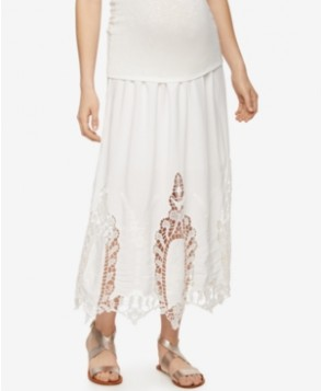 A Pea In The Pod Maternity Crochet-Trim Maxi Skirt