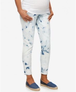 A Pea in the Pod Maternity Skinny Tie Dye Wash Ankle Jeans