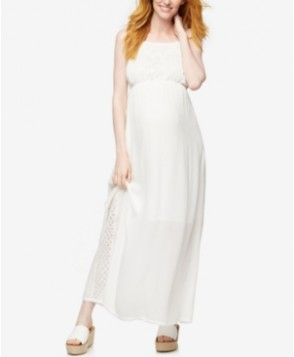 A Pea In The Pod Maternity Lace-Trim Maxi Dress