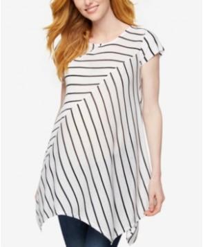 A Pea In The Pod Maternity Striped Handkerchief-Hem Top