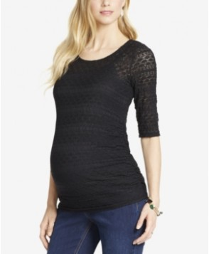 Jessica Simpson Maternity Lace Elbow-Sleeve Top