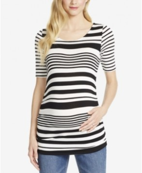 Jessica Simpson Maternity Striped Elbow-Sleeve Top
