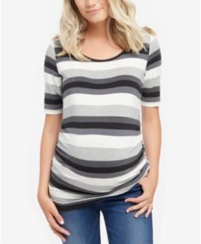 Motherhood Maternity Striped Elbow-Sleeve Top