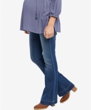 Indigo Blue Medium Wash Flared Maternity Jeans