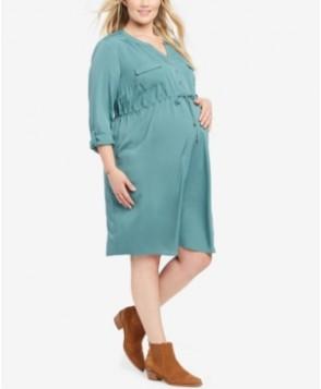 Motherhood Maternity Drawstring-Waist Shirtdress
