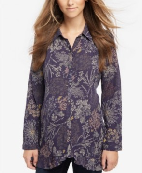 Motherhood Maternity Floral-Print Button-Front Shirt