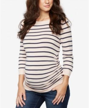 A Pea In The Pod Maternity Boat-Neck Striped Sweater