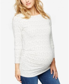 A Pea In The Pod Maternity Three-Quarter-Sleeve Printed Top