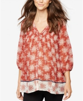A Pea In The Pod Maternity Printed Boho Top