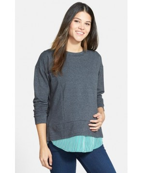 Loyal Hana 'Alex' Layered Look Maternity/nursing Sweatshirt