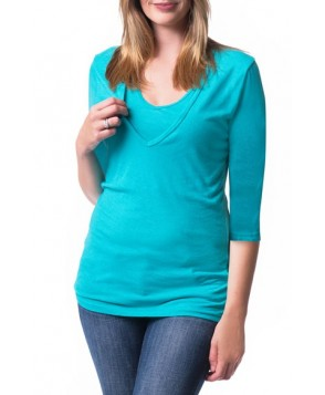 Bun Maternity 'Softie' Three-Quarter Sleeve Maternity/nursing Tee/green