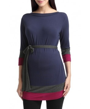 Kimi And Kai 'Aurora' Colorblock Three Quarter Sleeve Maternity Top