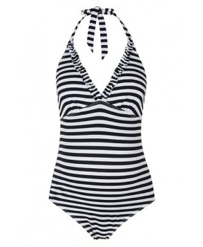 Topshop Stripe Frill One-Piece Maternity Swimsuit- Black