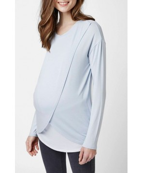 Topshop Long Sleeve Maternity/nursing Top - Blue