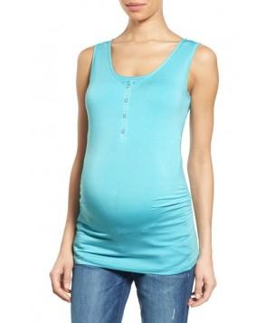 Nom Maternity Henley Maternity Tank Top/green