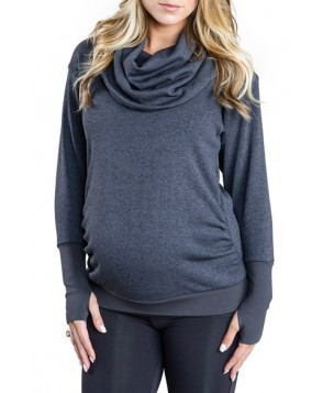 Cozy Orange 'Phoebe' Cowl Neck Maternity Sweater