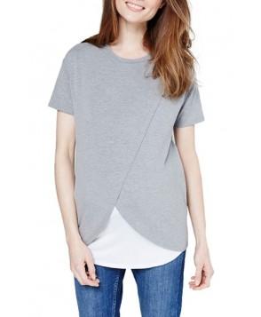 Topshop Short Sleeve Drape Maternity/nursing Tee - Grey