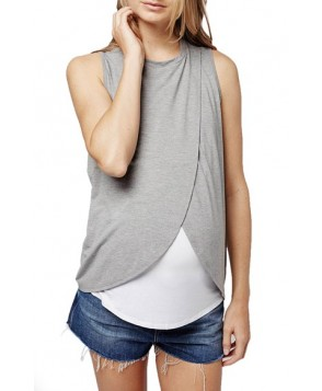 Topshop Wrap Maternity/nursing Tank- Grey