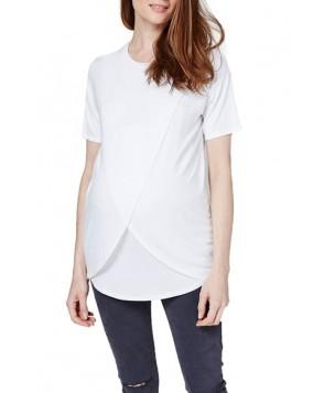 Topshop Short Sleeve Drape Maternity/nursing Tee - White