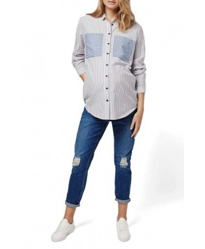 Topshop Patch Pocket Stripe Maternity Shirt