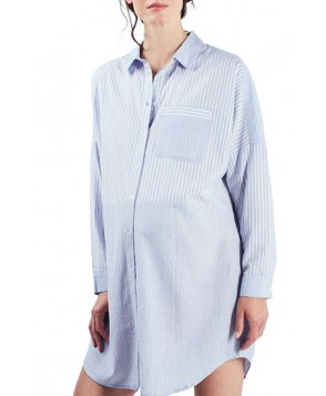 Topshop Stripe Maternity Sleep Shirt- Blue