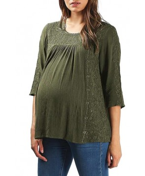 Topshop Embroidered Maternity Peasant Top- Green