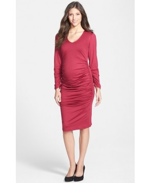 Eva Alexander London Ruched Maternity Midi Dress, - - Pink