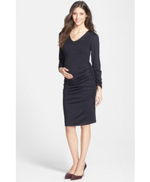 Eva Alexander London Ruched Maternity Midi Dress, - - Black