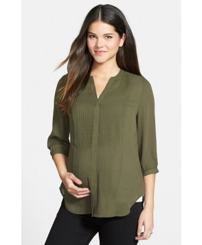 Loyal Hana 'Audrey' Maternity/nursing Tuxedo Blouse