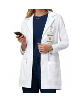 Cherokee 3 inch 3 button lab coat with Certainty - White