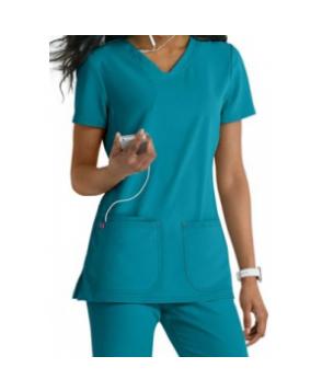 HeartSoul Pitter Pat v-neck media scrub top - Turquoise