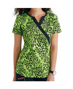 Beyond Scrubs Green Tiger crossover print scrub top - Green Tiger