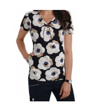 Beyond Scrubs Exploded Floral keyhole neck print scrub top - Exploded Floral