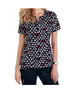 Beyond Scrubs Red Hearts Henley top - Red Hearts