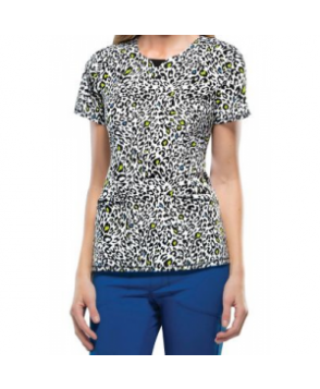 Infinity by Cherokee Spot The Leopard curved v-neck print scrub top with Certainty pot the Leopard