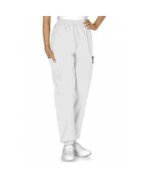 Fundamentals cuffed knit elastic waist scrub pant - White