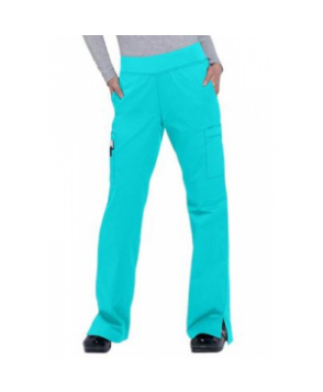 White Cross Allure knit waist cargo scrub pant - Blue Caracao - PXXS