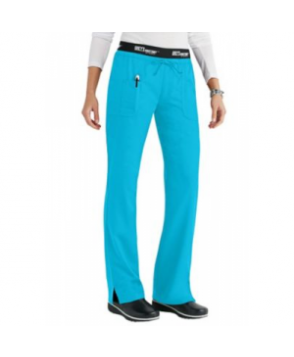 Greys Anatomy 3 pocket low rise logo waist scrub pant - Turquoise