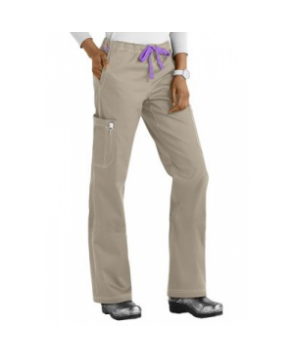 MC by Med Couture Layla cargo scrub pant - Khaki/Purple Haze