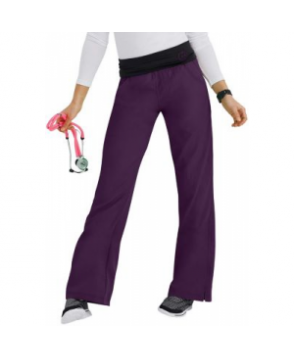WonderWink Four-Stretch knit waist yoga scrub pant - Eggplant