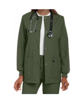 Landau round-neck scrub jacket - Olive