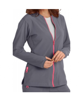 Carhartt CROSS-FLEX Made to Move zip front scrub jacket - Pewter/Coral
