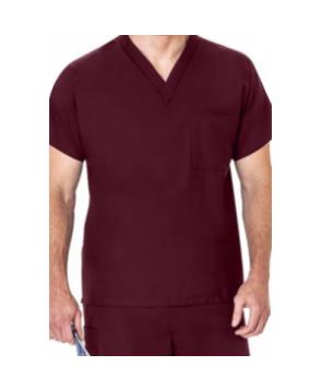 Fundamentals basic scrubs unisex scrub top - Wine