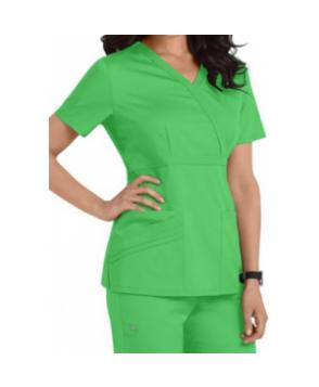 Cherokee Luxe Collection mock-wrap scrub top - tropical green